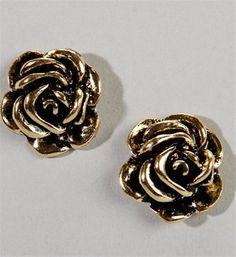 Antique Rose Bud Earrings