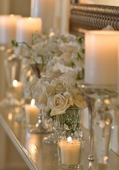 Ivory, roses and candles...