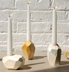 24-karat pure gold facets or papery-white wood with 12-karat white gold facets  |  Pelle Designs Dorit Candle Holder
