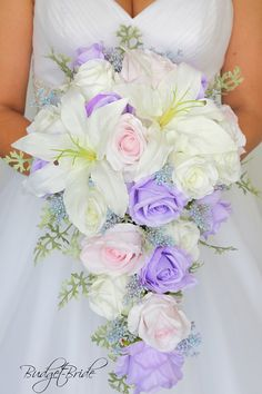 Iris Lavender Davids Bridal Wedding Bouquet cascading lily brides roses blush pink light pink fake artificial cascablanca white lilies