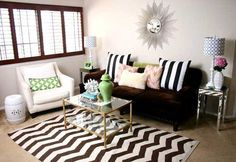 striped decorative pillows and zigzag floor rug for living room decorating