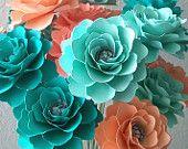 Flores de papel - decoración para el hogar - bodas - salmón - durazno - mar espuma - aguamarina - conjunto de 48 - por encargo