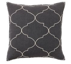 Tile Embroidered Cushion Cover