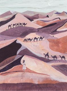 Desert Art print  Camel   Illustration  Travel  Wall Art