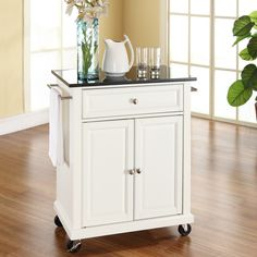 White Kitchen Cart with Granite Top and Locking Casters Wheels - Quality House