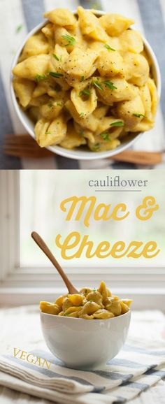 """Produce On Parade - Cauliflower Mac & Cheeze - This lightened vegan mac and cheeze made with cauliflower is creamy and rich, and as always the nutritional yeast lends that proper """"cheesy"""" flavor."""