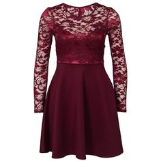 Nly One Skater Lace Back Dress (3.770 RUB) ❤ liked on Polyvore featuring dresses, burgundy, party dresses, womens-fashion, lace dress, burgundy dress, open back cocktail dress, skater skirt dress and purple skater skirt