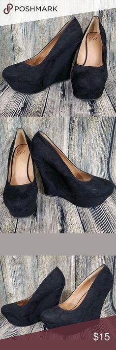Black faux suede wedge heels Used. Derek Heart Faux Suede Wedges. Black Minor scuffs from wear.  Size: 8 Derek Heart Shoes Wedges