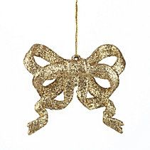 CANVAS Gold Glitter Bow Ornament, 3-in