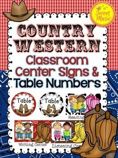 Center Posters and Table Numbers~Country Western Decor Set  Decorate your classroom with this adorable Country Western themed Center Posters and Table Numbers set.  This poster set is part of a bundled Country Western Classroom Decor Package.