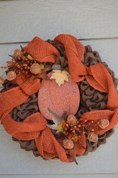 Burlap Pumpkin Wreath by HomeSpunSugarDesigns on Etsy, $70.00