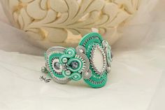 Soutache bracelet Soutache jewelry Mint by AMdesignSoutache