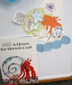 """Provide children with images from the text to add to the crab to engage them in telling the story """"A House for Hermit Crab"""""""