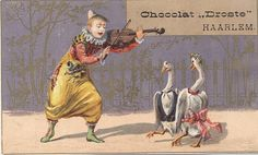 DRO3-1 cacao droste - clown playing violin to two geese dressed in clothes | Flickr - Photo Sharing!