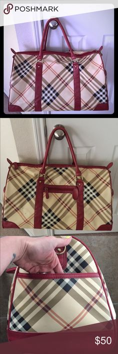 Weekender bag Plaid design with faux leather. Purchased at boutique. Used. Good condition. A little dirty by inside pocket as picture. Smoke free home. No trades. Bags Travel Bags