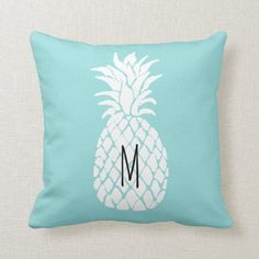 monogram pineapple on limpet shell pastel blue throw pillow