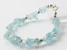 Free shipping Handmade Raw Rough Natural Aquamarine Sterling Silver Bracelet Jewelry Beads Gemstones Chips