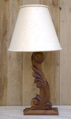 Custom Made Hand-Carved Lamp