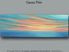 Canvas print sunset painting, Yellow teal turquoise coral home decor, Panoramic seascape Office wall art, Bedroom Living Dining room artwork