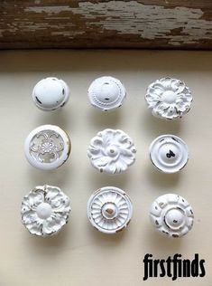 9 Misfit Knob Set Shabby Chic White Vintage Furniture Drawer Pulls Kitchen Cabinet Knobs Cupboard Hardware. 45.00, via Etsy. #shabbychicdresserswhite