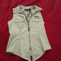 Embroidered Harley Davidson vest Denim/kaki style vest. Beautiful embroidery design. Harley-Davidson Jackets & Coats Vests