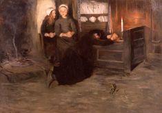 """Allan Österlind 1855-1938 Suédois  """" Veillée mortuaire à Tréboul """"1886"""