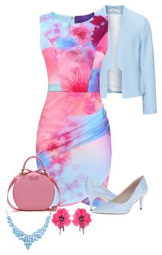 """Pink and Blue Welcome Spring"" by nightwisp ❤ liked on Polyvore featuring Zizzi, Nine West and Lanvin"