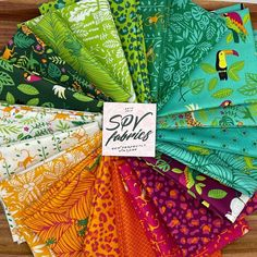 """SPV Fabrics on Instagram: """"🐯 Jungle Paradise Fat Quarter Bundles by Stacy Iest Hsu for Moda Fabrics are now available! We have yardage, project panels, precuts and…"""" Fat Quarters, Bag Making, Paradise, Fabrics, Tropical, Quilts, Pets, Projects, Environment"""