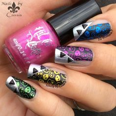 Nails by Cassis: Metallic Punk Stamping Mani Pretty Nail Art, Cute Nail Art, Cute Nails, My Nails, Nail Art Galleries, Nail Stamping, Nails Design, Manicures, Class Ring