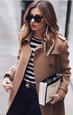 #winter #fashion / Camel Coat + Striped Top