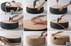 I know people around here have plenty of rope and old tires laying around. Add furniture legs for a nice DIY coffee table! Rope Tire Ottoman, Diy Ottoman, Homemade Ottoman, Ottoman Design, Ottoman Bench, Fire Pit Furniture, Diy Furniture, Garden Furniture, Automotive Furniture