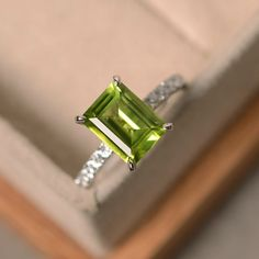 Peridot engagement ring sterling silver August by LuoJewelry