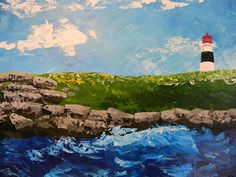 Seascape Original Acrylic Painting by NatkOriginalArt Lighthouse Painting, Landscape Paintings, The Originals, Abstract, Handmade Gifts, Vintage, Etsy, Art, Summary
