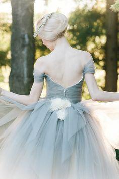 dove grey wedding dress with ivory flower detail by @Sareh Nouri / @millie batista