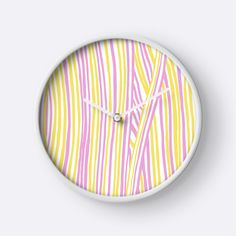 """Funky stripes, white, pink and yellow"" Clocks by ptitsa-tsatsa 