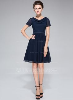 da4f8749ee7 A-Line Princess Cowl Neck Knee-Length Chiffon Charmeuse Bridesmaid Dress  With Ruffle - JJsHouse. Cécile DAVIAUX · Robe demoiselle d honneur