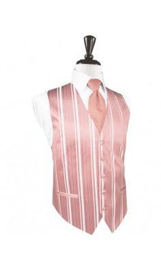 Coral Striped Satin Tuxedo Vest