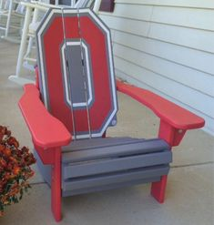 Block O Adirondack *Fully Licensed Ohio State Products* Ohio State Buckeyes, Buckeyes Football, Ohio State Football, Ohio State University, College Football, Ohio Flag, Ohio State Rooms, Ohio State Decor, Ohio State Crafts