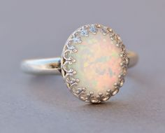 Sterling Silver Lab Created Opal Ring,White Opal Ring,Silver Crown Setting,Lab Created Synthetic Opal,October Birthstone,Opal Jewelry by hangingbyathread1 on Etsy https://www.etsy.com/listing/196420296/sterling-silver-lab-created-opal
