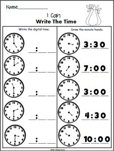 Write the Time Worksheet for grade in the fall. Look at the analog clocks and write the time to the hour and half hour. Next, look at the digital time and write the missing hand onto the analog clock. Clock Worksheets, Letter Writing Worksheets, First Grade Worksheets, Grammar Worksheets, 1st Grade Math, Kindergarten Worksheets, Grade 1, Math Clock, Preschool Worksheets