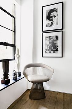 contemporary black and white sitting nook