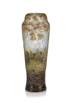 A Daum Nancy  enameled cameo glass vase circa 1900