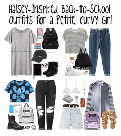 """""""Halsey-Inspired School Outfits for a Petite, Curvy Girl"""" by halseys-clothes ❤ liked on Polyvore featuring Topshop, Ksubi, H&M, Chicnova Fashion, Converse, Apt. 9, Pamela Love, Rupert Sanderson, Dr. Martens and Sherpani"""