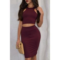 Wholesale Sexy Round Neck Sleeveless Solid Color Crop Top + High-Waisted Skirt Women's Twinset Only $7.02 Drop Shipping | TrendsGal.com
