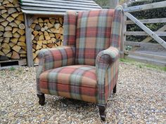 Green Man Upholstery Plaid tartan moon fabric wing