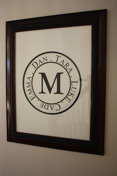 Family monogram vinyl sticker