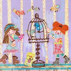 Oopsy Daisy - Tweet Goes the Bird Canvas Wall Art 14x14, Winborg Sisters