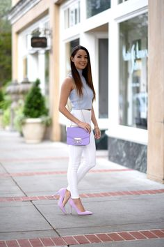 Jessica Ricks and Hapa Time Fashion: Light blue round neck cotton-top and white longs... #9A
