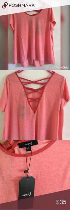 •Very J• Faux Leather Trim Lace Up Back Top✨ nwt. Oversized relaxed fit. Size small but can fit Medium 🌸 Very J Tops