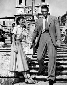 Audrey Hepburn and Gregory Peck on Spanish steps in Rome - scene from Roman Holiday